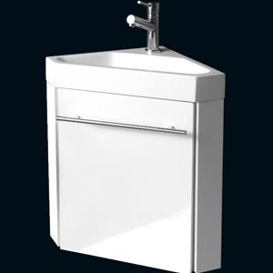 PACK LAVE MAINS D\'ANGLE SETE BLANC meuble laqué monté+lave mains ...