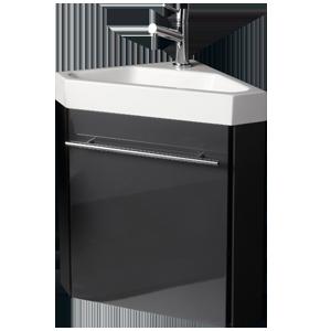 PACK LAVE MAINS D\'ANGLE SETE GRIS meuble laqué monté+lave mains ...